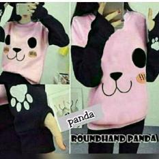 Harga Baju Original Panda Roundhand Sweater Babytery Jaket Muslimah Hangat Zipper Hoodie Casual Jacket Atasan Wanita Pink Baru Murah
