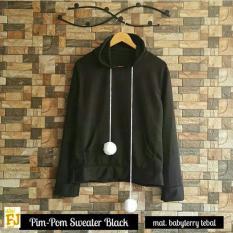 Baju Original Pim Pom Sweater Babyterry Luaran Hangat Simple Atasan Wanita Casual Modern Black