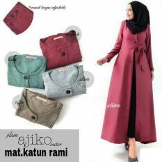Baju Original Plain Ajiko Outer Cardi Katun Rami Long Vest Cardigan Muslim Wanita Hijab Luaran Casual