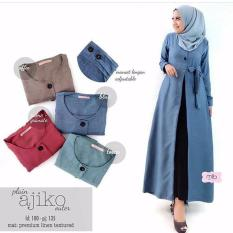 Baju Original Plain Ajiko Outer Cardi Katun Rami Long Vest Cardigan Muslim Wanita Hijab Luaran Casual WarnaTosca