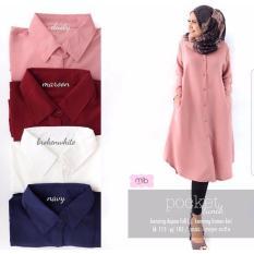 Baju Original Pocket TunikBuble Crepe Baju Atasan Wanita Muslim Panjang Pakaian Kerja Santai Casual Warna Dusty