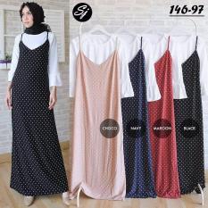 Baju Original Polkadot Maxy 2in1 Dress Wolfis mix Katun Gamis Panjang Hijab Casual Pakaian Wanita Hijab Modern WarnaBlack