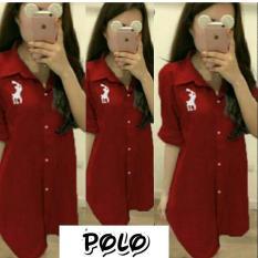 Cuci Gudang Baju Original Polo T Shirt Blouse Baju Atasan Wanita Muslim Panjang Pakaian Kerja Santai Casual Simple Waran Red
