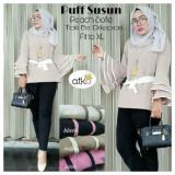 Miliki Segera Baju Original Puff Susun Blouse Wolfis Baju Atasan Wanita Muslim Panjang Pakaian Kerja Santai Casual Simple Warna Black