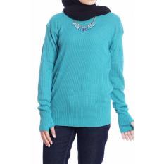 Baju Original Rajut Roundhand Baju Hangat Wanita Muslim Hijab Modern Modis Trendy Casual Warna Biru Langit