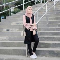 Baju Original Raya Tunik (Iner Plus Cardi Menyatu) Wolfis Baju Atasan Wanita Muslim Panjang Pakaian Kerja Santai Casual