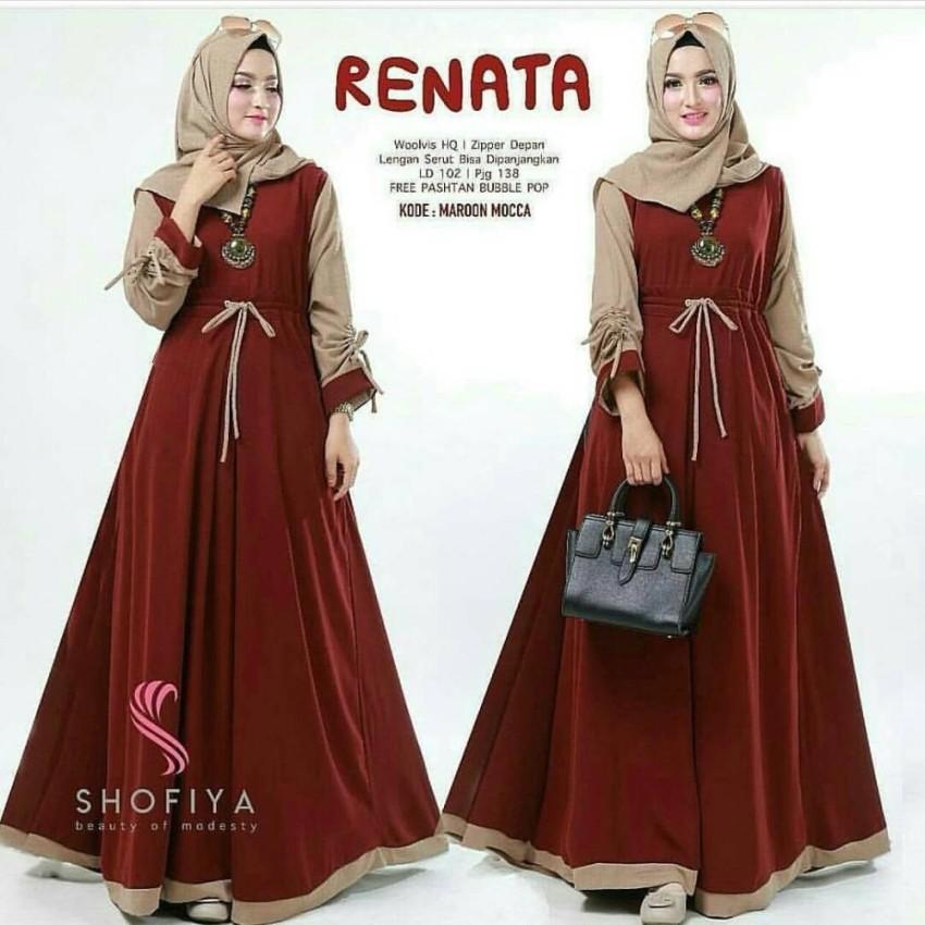 Baju Original Renata Dress Balotelly Gamis Panjang Hijab Casual Pakaian  Wanita Terbaru Tahun 2018 f77ef15faa