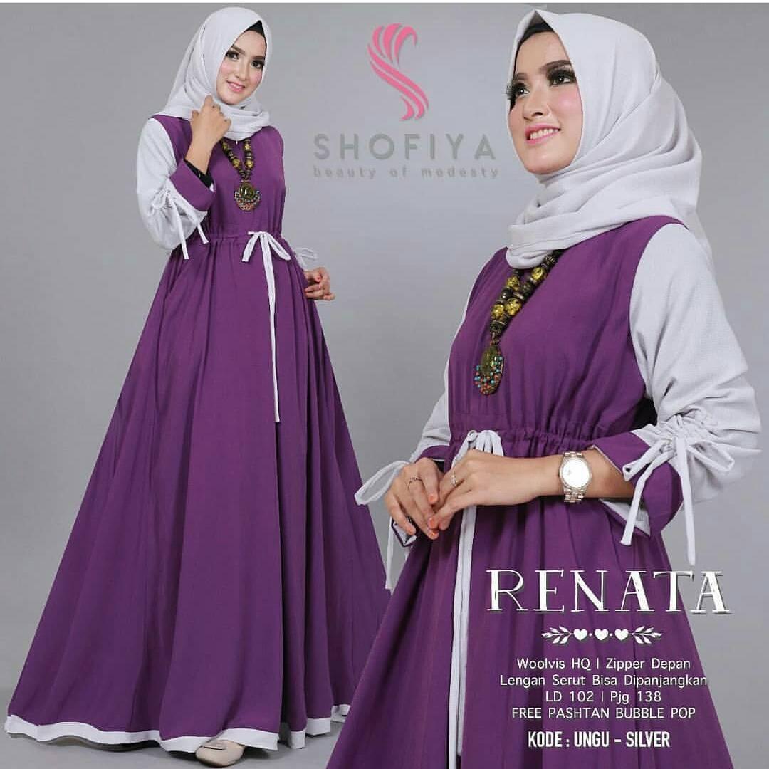 Baju Original Renata Dress Balotelly Gamis Panjang Hijab Casual Pakaian  Wanita Terbaru Tahun 2018 7064ff5e8b