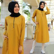 Baju Original Resti TunikBalotelly Baju Atasan Wanita Muslim Panjang Pakaian Kerja Santai Casual WarnaMustard