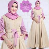Promo Baju Original Ruby Dress Balotelly Gamis Panjang Hijab Casual Pakaian Wanita Hijab Modern Warnamocca Murah