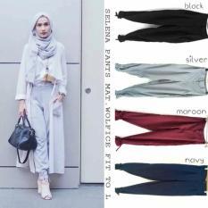 Baju Original Selena Pants Celana Panjang Wanita Muslim Bawahan Cewek Hijab HITAM