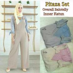 Baju Original Setelan Pitaza Set Baju Wanita Hijab Trendy Celana + Baju Atasan Modern Modis Casual Trendy Warna Coffe