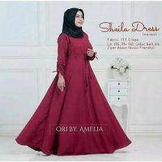 Baju Original Sheila Dress Wolfis Gamis Panjang Hijab Casual Pakaian Wanita Hijab Modern WarnaMaroon