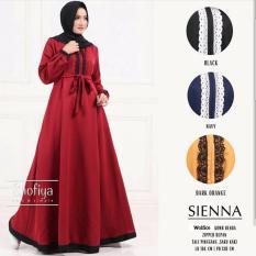 Baju Original Sienna Dress Wolfis Gamis Panjang Hijab Casual Pakaian Wanita Hijab Modern WarnaBlack