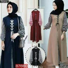 Harga Baju Original Soimah Dress Balotelly Mix Katun Acrilik Gamis Panjang Hijab Casual Pakaian Wanita Hijab Modern Warnamaroon Asli