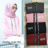 Jual Beli Online Baju Original Sweater Crop Hoodie Tali Tulis Pink Baby Fleece Luaran Hangat Sweater Formal Warna Pink Baby