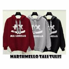 Toko Baju Original Sweater Marshmello Hoodie Tali Tulis Fleece Luaran Penghangat Modern Casual Warna Maroon Dekat Sini