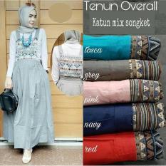 Baju Original Tenun Overall Katun Jumpsuit Wanita Modern Pakaian Hijab Simple Casual Grey
