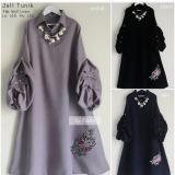 Miliki Segera Baju Original Tunik Jell Tunic Baju Panjang Wanita Modern Atasan Wanita Kerja Casual Trendy Warna Black