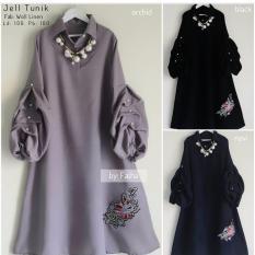 Review Baju Original Tunik Jell Tunic Baju Panjang Wanita Modern Atasan Wanita Kerja Casual Trendy Warna Black