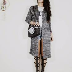 Jual Baju Original Twist Long Cardie Luaran Hijab Cardigan Wanita Muslim Rajut Warna Hitam Import