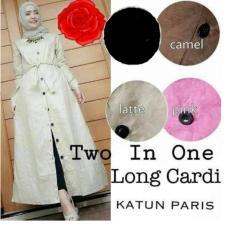 Baju Original Two In One Long Cardi Katun paris Cardigan Pakaian Wanita Hijab Modern Casual Simple Warna Latte