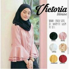 Baju Original Victoria Blouse Peach Sofie Baju Atasan Wanita Muslim Panjang Pakaian Kerja Santai Casual Warna Maroon