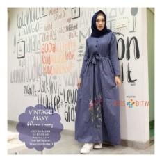Baju Original Vintage Dress Balotelly Gamis Panjang Hijab Casual Pakaian Wanita Hijab Modern Warna Navy