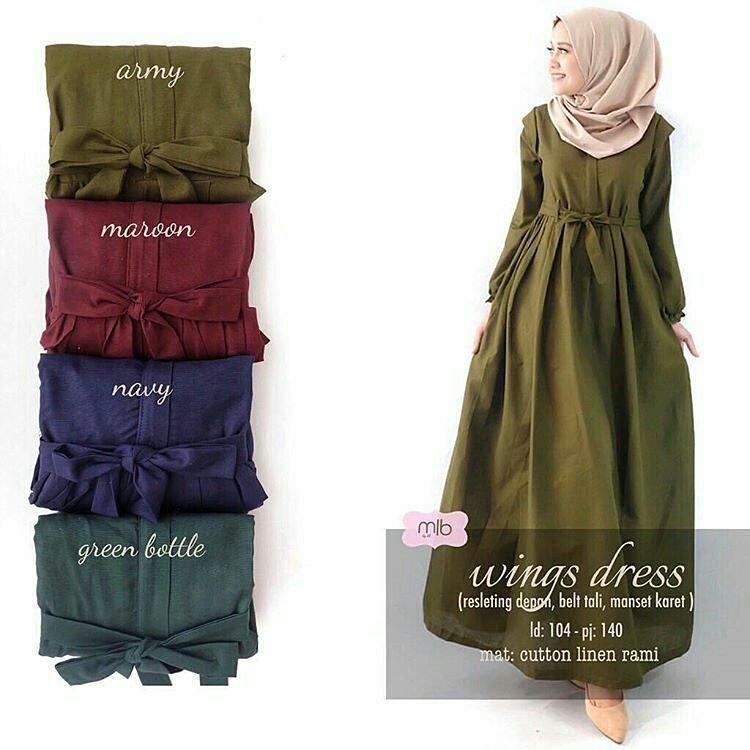 Ootd Baju Original Wings Dress Balotely Gamis Panjang Hijab Casual Pakaian  Wanita Muslim Modern Maxy Terbaru Tahun fb8f369867
