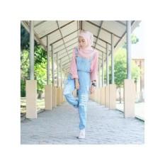 Baju Overall Ripped Jeans Tanpa Dalaman - Celana Kodok Baju Kodok Setelan Wanita Muslimah Celana Panjang Casual Jumpsuit Muslim Jumpsuit Murah