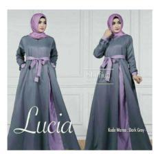 Baju Pakaian Wanita Gamis Maxi Lucia Dres Darkgrey-Lilac