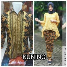 Baju pasangan / Couple kebaya Brukat Bianca Warna Kuning ( No Pasmina) +Batik Pria Lengan Panjang