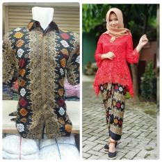 Baju Pasangan / Couple Kebaya Brukat Monalisa Dan Batik Pria Lengan Pendek Warna Merah