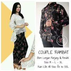 Baju Pasangan / Couple Kebaya Brukat Monalisa ( No Pasmina) + Batik Pria Lengan Panjang Warna Putih