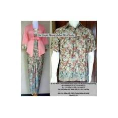 Baju Pasangan Pesta /Couple Batik kebaya Kutubaru Elnira Warna Salem Plus Kemeja Pria Ready Size M L Dan XL
