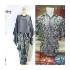Harga Baju Pasangan Pesta Couple Kebaya Batwing Grey Plus Kemeja Pria Ready Size M L Dan Xl Paling Murah