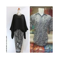 Baju Pasangan Pesta / Couple Kebaya Batwing Hitam Plus Kemeja Pria Ready Size M L Dan XL