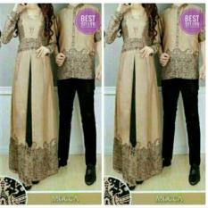 Baju Pasangan Sarimbit Gamis Couple Alya Hitam Batik Harga Sepasang - Coklat