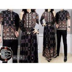 Baju Pasangan Sarimbit Gamis Couple Alya Hitam Batik Harga Sepasang - Hitam