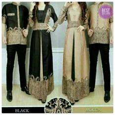 Baju Pasangan Sarimbit Gamis Couple Alya Hitam Batik Harga Sepasang - Hitam Coklat
