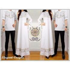 Baju Pasangan Sarimbit Gamis Couple Elegant Batik Harga Sepasang - Putih