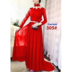 305# baju pesta import  / gaun pesta import / baju pesta brokat / maxi dress ekor fashion / longdress ekor import