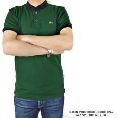 Baju Polo Kerah Koko Kombinasi Hijau Polos Polosan Cowok Pria - 7Whr29