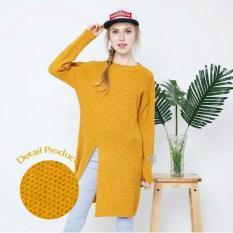 Baju Rajut Dress Korea Murah (Slit Dress Mustard) Grosir - Xi3m58