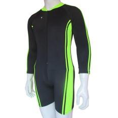 Baju Renang Diving Dewasa Tangan Panjang Warna Dasar List Hijau Stabillo - BSP-Dws