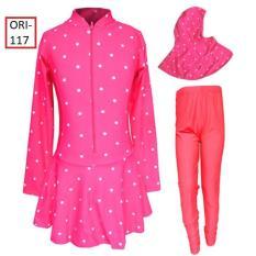 Baju Renang Muslim Anak Umur 5-10 Tahun Motif Polkadot Warna Pink - 119SD