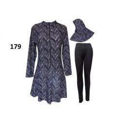 Baju Renang Muslim Dewasa Motif Batik Zig-Zag Hitam - 179