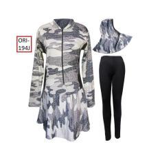 Baju Renang Muslim Jumbo Untuk Wanita Motif Loreng Tentara -194J