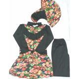 Baju Renang Muslimah Dewasa Bacheno Hitam Kombinasi Bunga Original