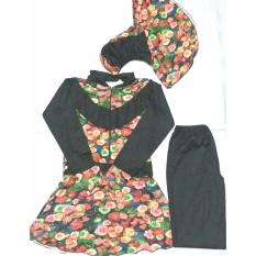Baju Renang Muslimah Dewasa- Bacheno/ Hitam Kombinasi Bunga